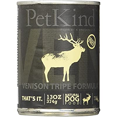 PetKind Grain-Free All Natural Dog Food, 13 oz cans (Pack of 12), Venison