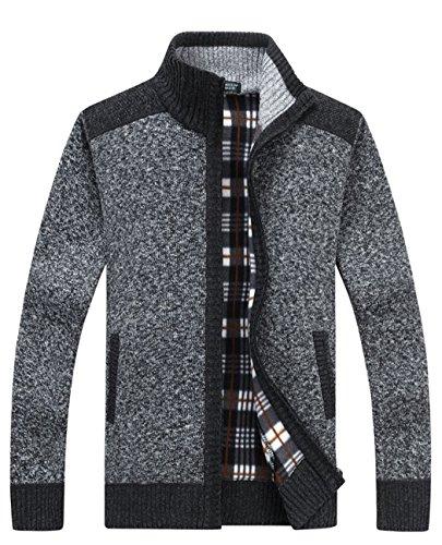 Full Zip Long Sleeve Sweater - Vcansion Men's Classic Long Sleeve Full Zip up Plus Warm Knitted Fleece Wool Cardigan Sweaters Jacket Coats Dark Grey US L