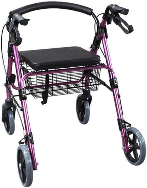Carro de compras portátil plegable, carro viejo de cuatro ruedas, andador ligero, carro de compras