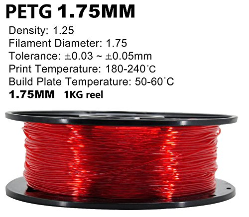 PETG 3D Printer Filament,Dimensional Accuracy +/- 0.05 mm, 1kg / 2.2lbs Spool for 3D Printers-- (1.75mm, Transparent Red) by Evergreen Tree (Image #2)