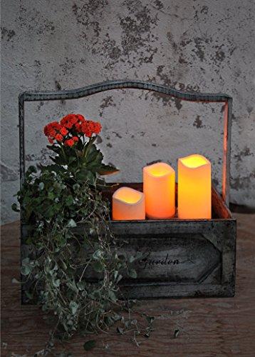 Romantische LED - Kerzen im Dreierpack / 3er Set - Größe 15 cm / 11,5 cm / 7,5 cm hoch - dekorative und stromsparende LED Technik inkl. Timer - Kerze flackernd - in amber - für Innen und Außen - Bereich - OUTDOOR - NEU - aus dem KAMACA-SHOP