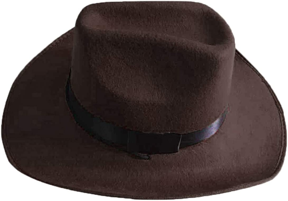 ASO-SLING Mens Felt Wide Brim Western Cowboy Hats Crushable Wool Outback Hat with Black Band