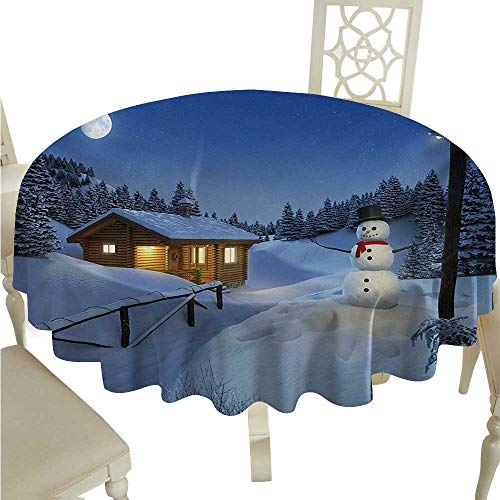 Christmas Round Polyester Tablecloth Wooden Rustic Log Cottage Scenery in the Winter Season Warm Moonlight Spirit Washable Polyester - Great for Buffet Table, Parties, Holiday Dinner, Wedding & More