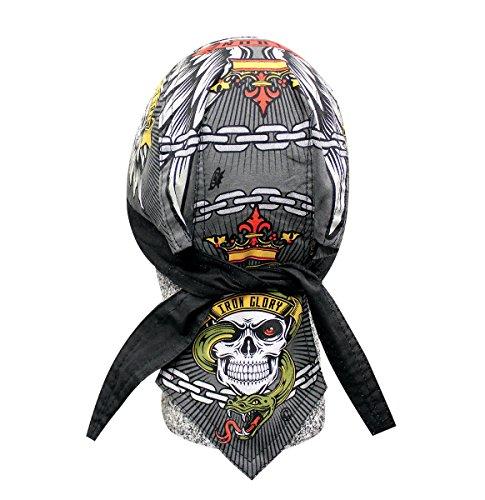 Deluxe Skull Cap (Biker Bandana Deluxe Danbanna Doo Rag Headwrap Sweatband Skull Cap - Choose Design (Iron Glory))