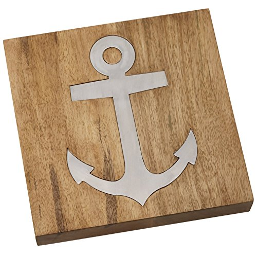 Mud Pie Wood Anchor Trivet, Brown