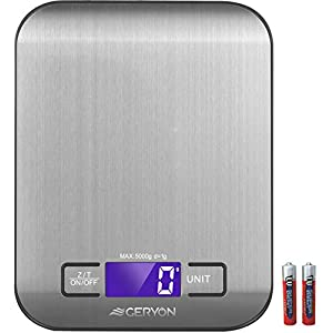 Food Scale Geryon Kitchen Cooking Scale, Multifunction & Electric, Food Weighing Used for Weed, Meat, Coffee, Baking -- Stainless Steel (2012-5kg)