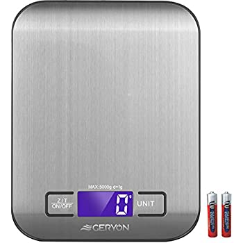 Food Scale Geryon Kitchen Cooking Scale, Multifunction & Electric, Food Weighing Used for Weed, Meat, Coffee, Baking -- Stainless Steel, 11lb/5kg