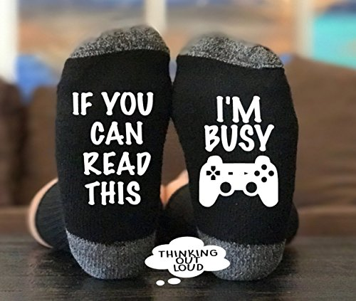 If You Can Read This I'm I'm Busy Gaming- Socks - Funny Nove