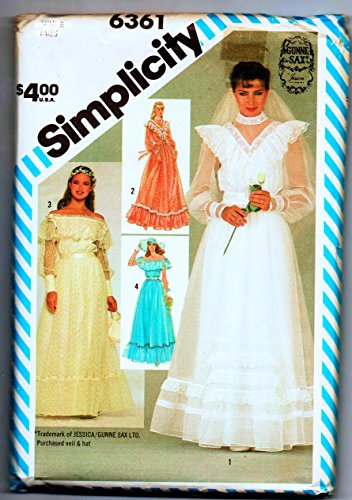 Simplicity 6361 Sew Pattern, Gunne Sax Jessica Mcclintock Wedding Gown Bridal Dress Victorian Ruffles & Illusion Cuffed Sleeve or Neckline Inset, Lace Trimmed or Sleeveless Hem Flounces or Back Tie