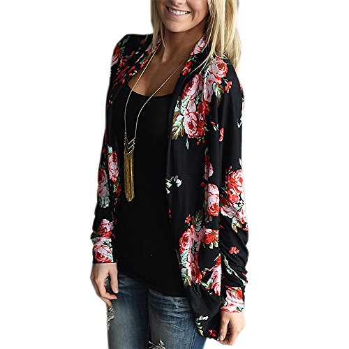 Kaoccy Women's Floral Soft Long Sleeves Open Front Fall Thin Coat Black M