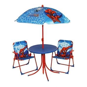 Innovativ SPIDERMAN Kindermöbel Set Kindertisch mit Stühle und Sonnenschirm  RH37