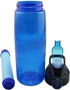 Shhjjyp Filtro Agua Botella 650Ml Filtro Purificador De Agua Portatil Elimina Bacterias Y Protozoos, 1000L Sistema De Filtración De Agua Filtro De Agua para Supervivencia Acampada Emergencia,Azul: Amazon.es: Deportes y aire libre