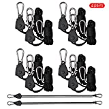 Yunt 1/8in Heavy Duty Rope Hanger Adjustable Rope Clip Hanger with Plastic Wheel and Hooks LED Plant Growth Lamp Lanyard Ratchet Hanger Four Pairs