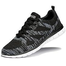 Changping Men's Tennis Shoes Lightweight Running Sneakers(Black EU40)