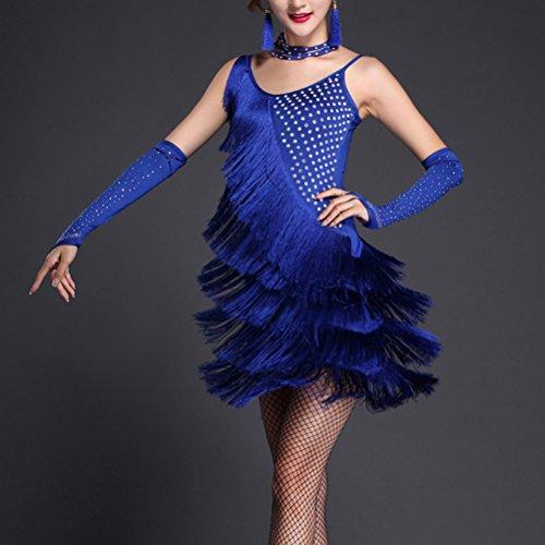 Ballroom Royal Fringe Latin Sequined Costumes Zhuhaitf Dress Dancing Blue Performance Adult Woman Party BfnXXPqF8