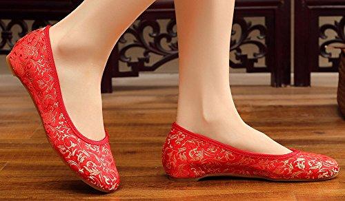 Avacostume Da Donna Punta Quadrata Simil-bue Aderente Stampa Slip-on Rosso