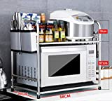 Stainless steel kitchen rack / microwave oven rack / storage rack / dressing rack( Packages: Shelf 1, Knife stand 1, Chopsticks tube 1, Hook 6) ( Size : 58CM , Style : B )