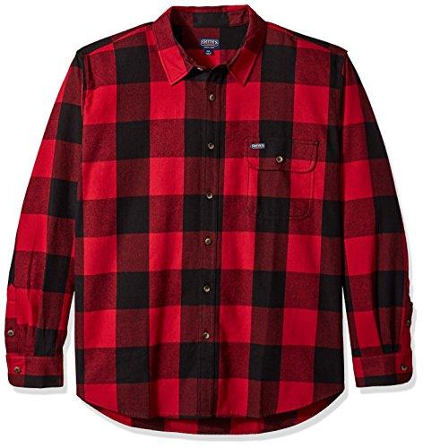 Smith's Workwear Men's 6 oz Buffalo Plaid Flannel Shirt, Red/Black, (6 Ounce Flannel)