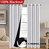 Cheap H.VERSAILTEX 100% Blackout Curtains 96″ Length for Bedroom, Faux Doupion Silk Panels with Natural Liner Backing – Thermal Insulated & Energy Efficiency Window Panel Drapes Pair, Nickel Grommet