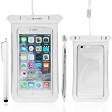 Waterproof Carrying Case for Smartphones – Fits Iphone SE, 6S Plus, 6 Plus, 6S, 6, 5S, 5, Samsung Galaxy Note 4, 3 , S7, S7 edge, S6, S6 edge, S5, S4 - Clear Side Windows, for Easy Access (White with Side Windows)