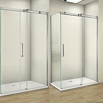 Mamparas de ducha puerta corredera 8mm easyclean vidrio 120cm ...