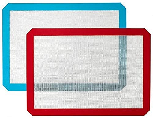 Silicone Baking Mat, Non-Stick Cooking Mat - 2 Pack (red+blue) 11.5X16.5 Kayco USA