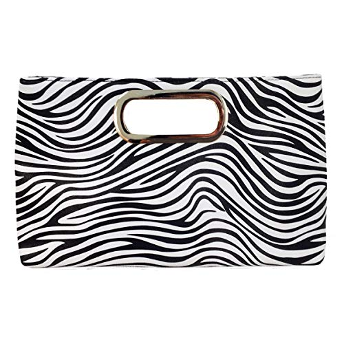 JNB Top Handle Zebra Print Clutch