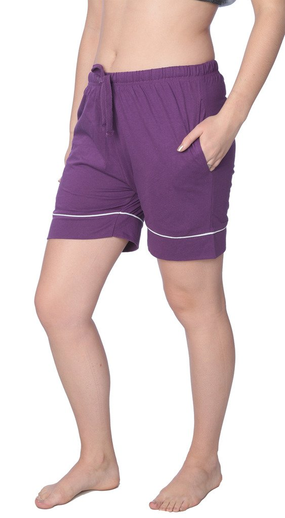 Beverly Rock Women's Short Jersey Knit Pajama Lounge Pant Available in Plus Size WJL01_18 Purple 1X