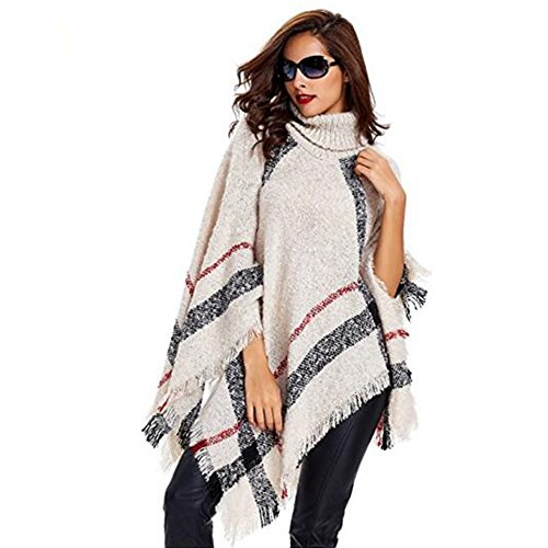 Hitop Women's Plaid High Collar Knitted Sweater Poncho (Beige) (Poncho Plaid)