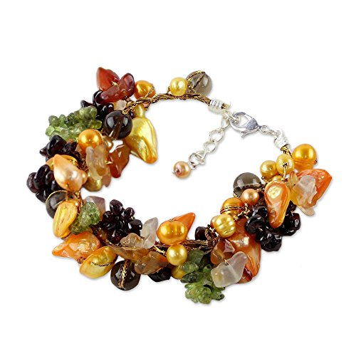 NOVICA Multi-Gem Quartz Cultured Freshwater Pearl Stainless Steel Beaded Bracelet, Precious Fruit