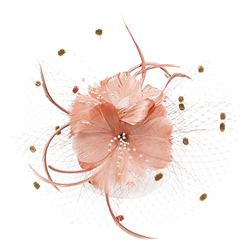 Auranso Derby Netting Mesh Headband Feather Big Flowers Hair Band Tea Party Girls Women Wedding Bridal Fascinator Hat Nude Pink