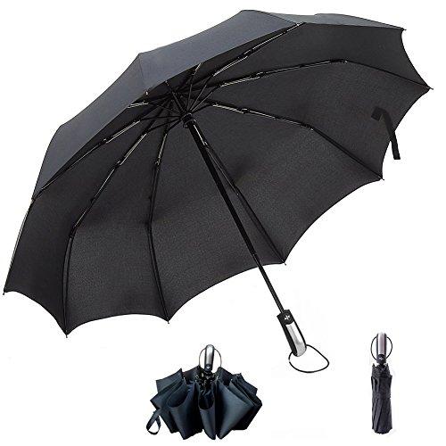 Golf Automatic Umbrella, Folding Umbrella, Travel Windproof Umbrella, Lightweight Compact Umbrella 10 Ribs Auto Open & Close (Black)
