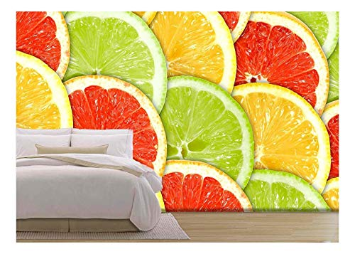 Abstract Three-Color Background with Citrus-Fruit of Grapefruit, Removable Wall Mural | Self-Adhesive Large Wallpaper - 100x144 inches