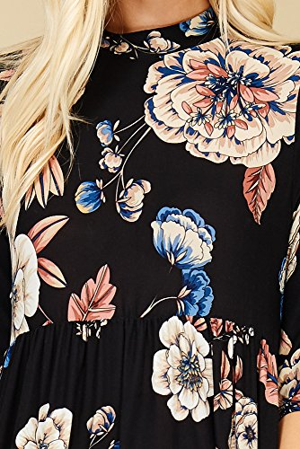 Maxi D5236b Pockets Sleeve with Annabelle 3 Dresses Floral Black Long Women's Side 4 AxBnX1