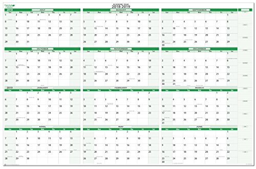 Earth Green 2018-2019 Extra Large Horizontal Academic (7/2018 to 6/2019) Erasable Wall Planner Kit 32 in x 48 in Horizontal Wall Planner