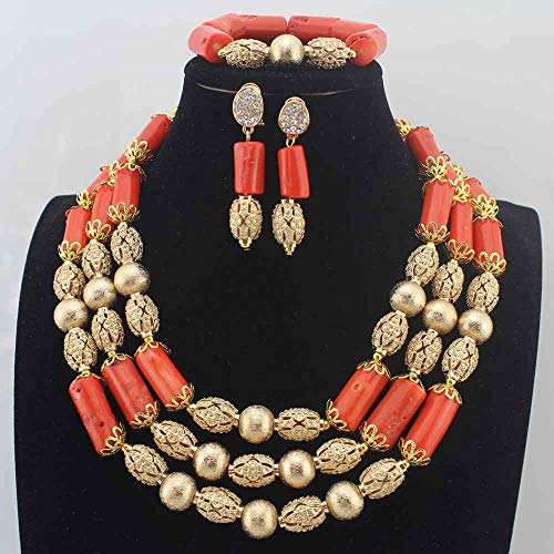 New Gorgeous Red Coral Beads Necklace | Traditional Wedding Coral Beads Jewelry Sets