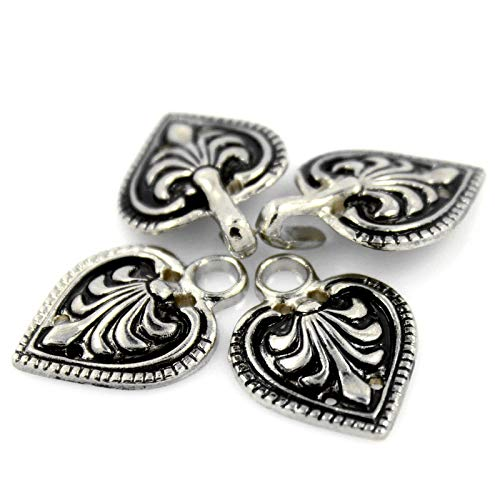 Bezelry 6 Pairs Baroque Spade Retro Silver Color Hook and Eye Cloak Clasp Fasteners 48mm x 19mm Fastened.