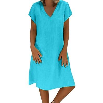da4c9fe3cae2b Sale Summer Linen Dresses, Bestoppen Women Casual Feminino Vestido T ...