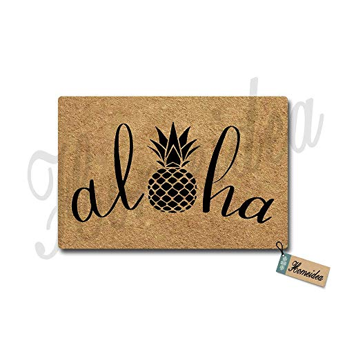 Homeidea Aloha Doormat Pineapple Doormat Funny Doormat Entrance Floor Mat Indoor/Outdoor/Front Door/Bathroom Mats Rubber Non-Slip 23.6