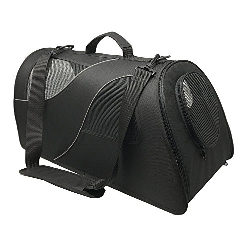 Fuzzy Buddy FB-SS-BL Soft-Sided Pet Carrier for Small Dogs and Cats, Black