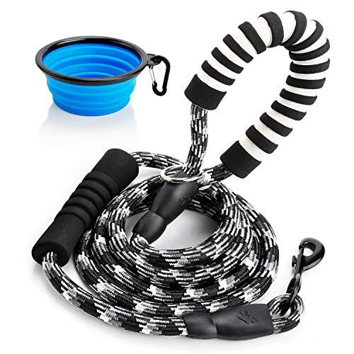 (Toozey 6 FT Dog Leash with 2 Padded Handle, Reflective Nylon Rope Leashes for Medium Large Dogs, Adjustable Traffic Handle, Bonus Collapsible Dog Bowl, E-Book)
