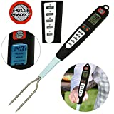 Grille Perfect Digital Meat Thermometer for Grilling and Barbecue Turner Fork with Ready