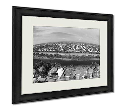 Ashley Framed Prints Suburban Homes In South Florida Aerial, Wall Art Home Decoration, Black/White, 30x35 (frame size), - Fit You Pines Pembroke