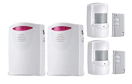 Alarma Detector Antirrobo Resistente Intemperie Inalámbrico Jardín Garaje Caseta con Receptores Timbre Alarma Sensor Movimiento Mando