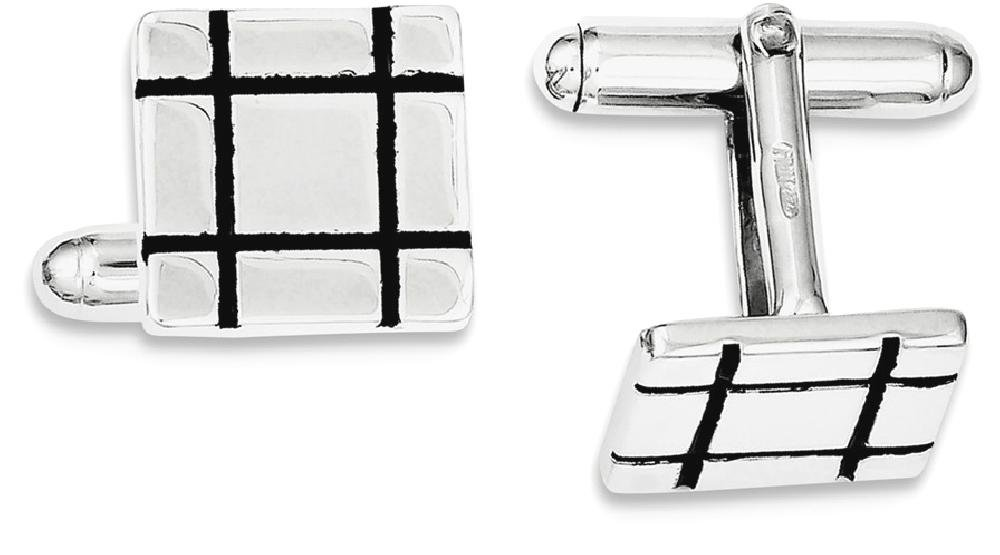 ICE CARATS 925 Sterling Silver Black Enamel Groove Square Cuff Links Mens Cufflinks Man Link Fine Jewelry Dad Mens Gift Set