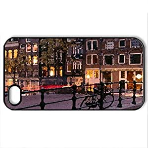 Amsterdam - Case Cover for iPhone 4 and 4s (Bridges Series, Watercolor style, Black) by icecream design