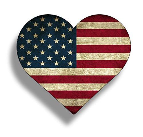 (Rustic Heart Sticker American Flag Vinyl Decals Die Cut Car Truck Cup Window Graphic Old Merica)