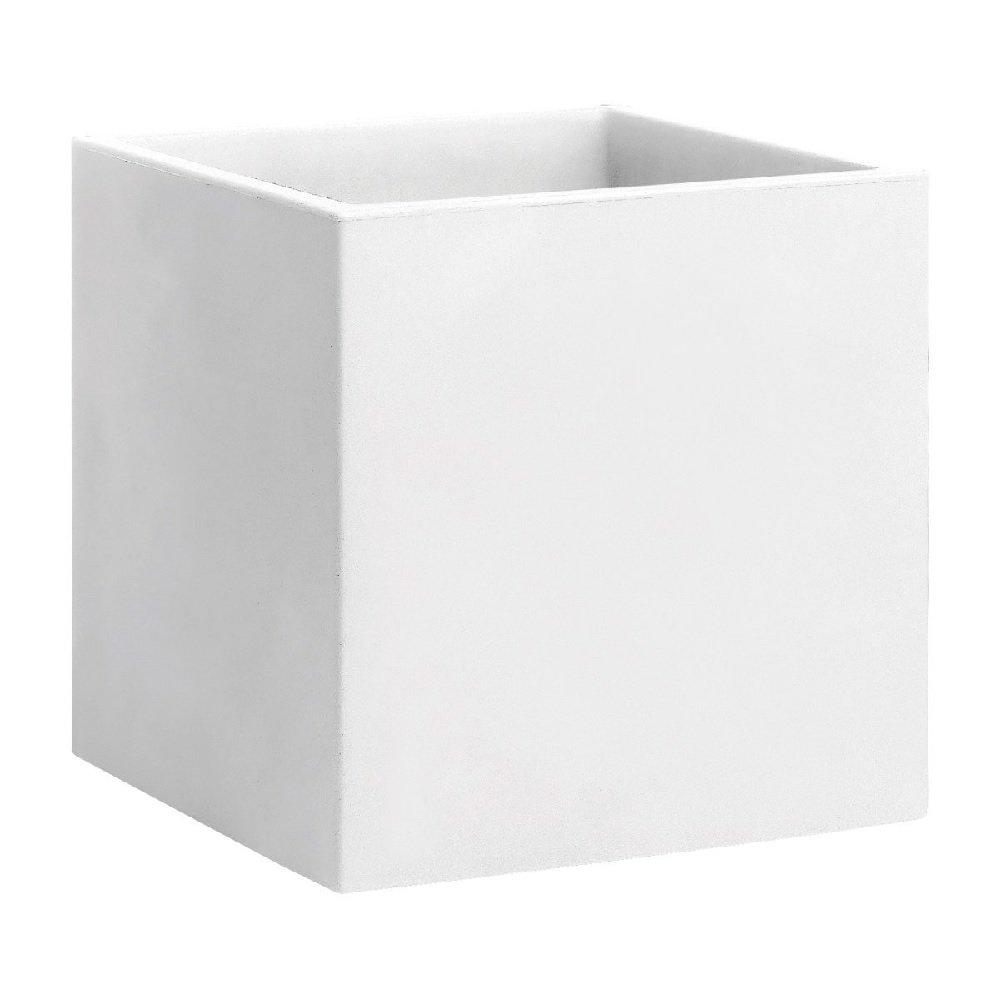 hydroflora 63002800 vaso quadrato Nicoli Momus 35 x 35 x 35 cm, colore bianco opaco R4135B