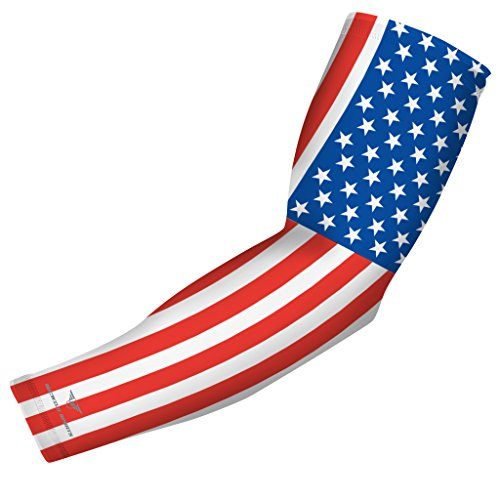 USA Flag Sports Compression Arm Sleeve - Youth & Adult Sizes - Baseball Football Basketball Golf by Bucwild Sports (1 Sleeve - Youth Medium)