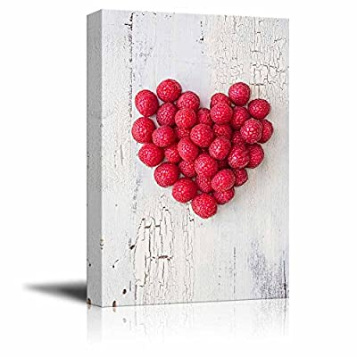 Canvas Prints Wall Art - Heart Shape Formed by Fresh Raspberries Fruits Art | Modern Wall Decor/Home Decoration Stretched Gallery Canvas Wrap Giclee Print & Ready to Hang - 24